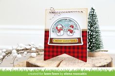 Lawn Fawn Intro: Ready, Set, Snow + Shaker Add-on card by Elena Roussakis.