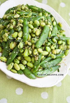 Edamame Snap Pea Salad from the Lemonade cookbook made by Nancy. For more information about the Lemonade cookbook visit Nancy's blog at: http://nancycreative.com/2013/11/20/edamame-snap-pea-salad-from-the-lemonade-cookbook-and-a-giveaway/