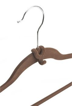 Cascading Hanger Hooks in Chocolate - Set of 10 Item #: 0420-CH Maximize closet space by creating a cascade of hanging clothes. Or use a hook to hang accessories, such as a belt or necklace, with tomorrow's outfit. Hooks slip easily over most hangers. (1W x 1.5H x 1D) Clever Container Company LLC - Shopping Cart