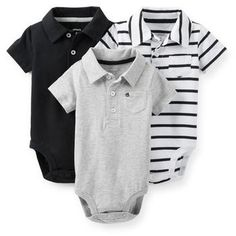 New Carter's 3 Pack Black White Striped Gray Polo Bodysuits 9 12 18 24 #Carters