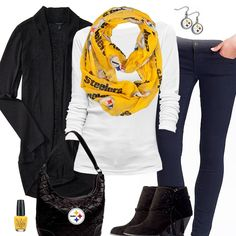 18aa3a7d7 Pittsburgh Steelers Inspired Cardigan   Scarf Outfit