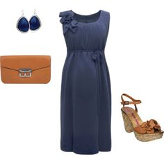 Navy Tan Maternity / Special Occasion / Baby Shower Dress Outfit, created by ggdesigns on Polyvore