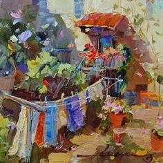 "Dreama Tolle Perry » Artist and Writer » ""Giorno della Lavanderia in Tuscany"" (Laundry Day in Tuscany) SOLD"
