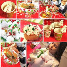 Love the idea of a cupcake decorating station!! Very cost effective and fun craft for kids christmas party.