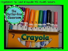 Clutter-Free Classroom: Organization Tip: Numbering Student Supplies  I love this idea! Now I can know what items belong to whom :)
