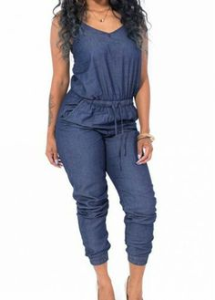 4983ae29ee46 ... China denim jeans womens Suppliers  New 2015 Summer Women Jumpsuit  Fashion Sexy Strap Front Pocket Jeans Denim Jumpsuit Ladies Elegant Backless  Bodycon ...