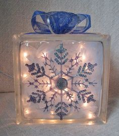 Christmas Snowflake Glass Block with interior lights and bow