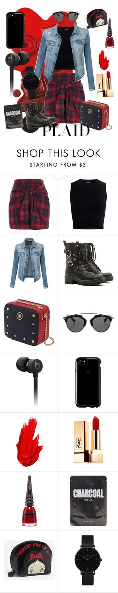 """""""Plaid"""" by emily-jean-ling ❤ liked on Polyvore featuring River Island, Theory, LE3NO, RED Valentino, Tommy Hilfiger, Christian Dior, Beats by Dr. Dre, Speck, Maybelline and Yves Saint Laurent"""