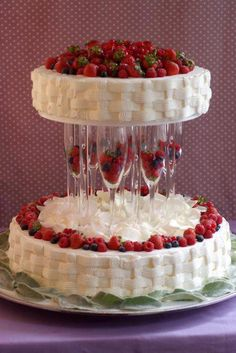 Love using champagne glasses for cake supports.