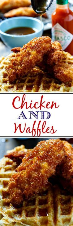 Chicken and Waffles topped with a TABASCO Maple syrup. The perfect combo of sweet, savory, and spicy!