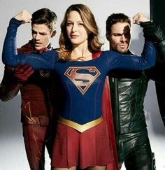 Four-way Crossover. Melissa Benoist - Supergirl, Grant Gustin - Flash, Stephen Amell - Green Arrow