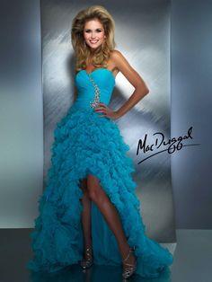 Aqua Prom Dress With Ruffled High Low Skirt