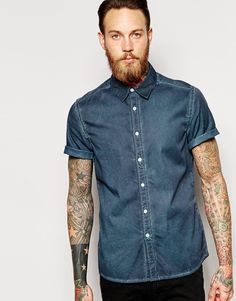ASOS Shirt In Short Sleeve With Heavy Wash