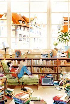 books, music, writing … leisure times - illustration by Kim Ji-Hyuck Reading Art, Woman Reading, Love Reading, Reading Room, Reading Library, Music Writing, Music Books, Art Music, Book Nooks