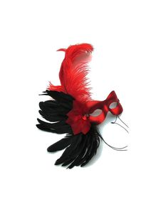 Missy Red Feathered Women's Masquerade Mask  by SuccessCreations, $45.00