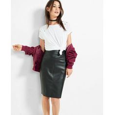 Express (Minus The) Leather Pencil Skirt ($50) ❤ liked on Polyvore featuring skirts, black, high waist skirt, pencil skirts, midi skirt, high-waist skirt and stretchy pencil skirt