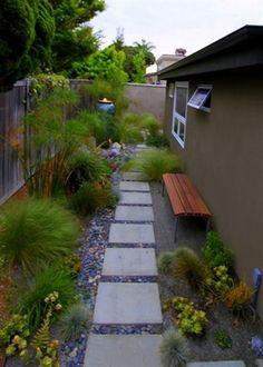 mid-century modern landscaping garden park bench #ModernLandscaping