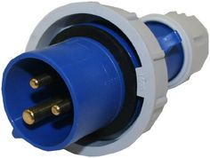 This #Interpower 84131253 International Electrotechnical Commission (IEC) 60309 blue, two-pole, high-power plug has three contacts, a six-hour (180 degree) groun...