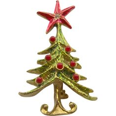 Christmas Tree Brooch by CORO from shopwithelaine on Ruby Lane