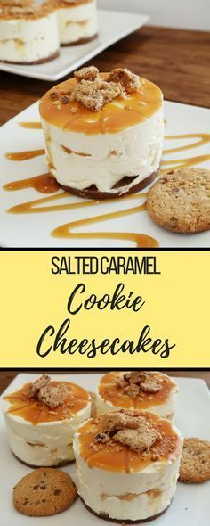 Create these no-bake cheesecakes using salted caramel cookiesSalted Caramel Cookie Cheesecake recipe. Create these no-bake cheesecakes using salted caramel cookies Cheesecake Caramel, Salted Caramel Cookies, Cheesecake Cookies, Salted Caramels, Desserts Caramel, Baked Cheesecake Recipe, No Bake Cheescake, Easy No Bake Cheesecake, Homemade Cheesecake