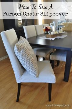 How To Sew Parson Chair Slipcovers Inexpensive Makeover With Drop Cloth You Can