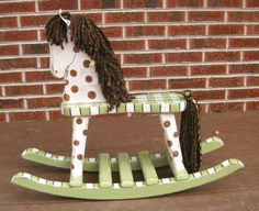 Hand Painted Wooden Rocking Horse by PattysPaintedPlaces on Etsy, $120.00