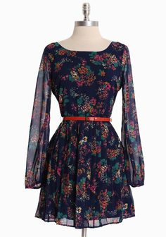 """Heirloom Flowers Pleated Dress 46.99 at shopruche.com. This navy chiffon dress exudes effortless style with semi-sheer sleeves, delicate pleats, and an optional belt. Hidden back zipper closure. Fully lined.  Self: 100% Polyester, Lining: 100% Cotton, Imported, 27"""" waist, 33"""" length from top of shoulder, *All measurements taken from a size Small"""