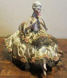 Antique art deco porcelain German half doll figurine with legs!! sitting on box... ca 1930 flapper era