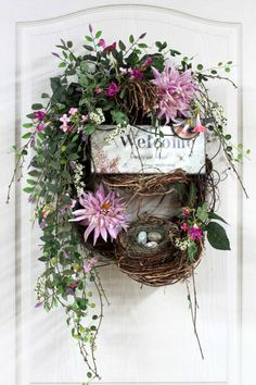Country Welcome Wreath, Front Door Wreath, Spring Wreath, Wildflowers, Honeysuckle, Summer Wreath, Country Decor -- FREE SHIPPING. $162.00, via Etsy.