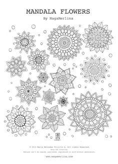 MagaMerlina: Free Coloring Mandala Flowers