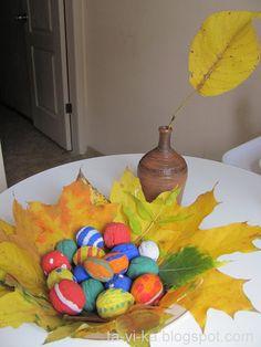 поделка из листьев и орехов