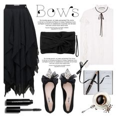 """Put a bow on it!"" by helenevlacho ❤ liked on Polyvore featuring Miu Miu, Loewe, Gucci, Karen Millen, Smythson, Bobbi Brown Cosmetics, bows, blackandwhite and contestentry"