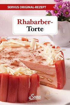 Diese Rhabarber-Torte kommt ganz ohne Backrohr aus und schmeckt unwiderstehlich. #rhabarbertorte #rhabarber #tortenrezept #servusrezept Food, Food Food, Bakken, Cacao Powder, Essen, Meals, Yemek, Eten