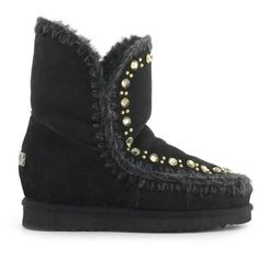 Mou Eskimo Inner Wedge Boots With Studs & Crystals Women Black - MOU (259€→193€) #CyberMondayDeals #Cyber Monday #Christmas