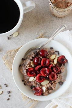 Recipe for easy and healthy chocolate covered cherry overnight oats. This make-ahead breakfast tastes like dessert and features lots of fresh cherries!