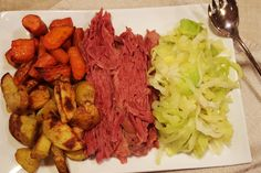 Patrick's Day Dinner: Corned Beef, Cabbage, and Roasted Potatoes and Carrots – Rumbly in my Tumbly patricks day dinner main dishes St. Patrick's Day Dinner: Corned Beef, Cabbage, and Roasted Potatoes and Carrots Carrots In Oven, Roasted Potatoes And Carrots, Cabbage And Potatoes, Potatoes In Oven, Corn Beef And Cabbage, Cornbeef And Cabbage Recipe, Boiled Cabbage, Boiled Dinner, Lamb Recipes