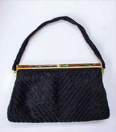 VINTAGE Small BLACK BEADED PURSE with Gold & Faux Abalone Evening Bag Handbag  #Unbranded #EveningBag #SpecialOccasion