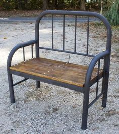 Rustic Bench made from Old, Antique Iron Bed #homemaderusticfurniture