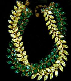 Miriam Haskell Emerald and Citrine Garland Necklace.