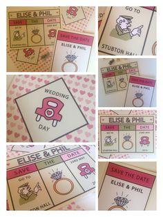 Monopoly inspired Save the date invitations from Mad Philomena! Get in touch if we can design your wedding artwork www.madphilomena.co.uk