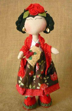 Linda boneca Frida Kahlo 35 cm de pura lindeza! Solicite os tecidos disponíveis para produção - Foto ilustrativa.