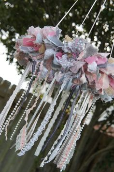 Shabby Chic Baby Mobile Custom Colors Available by HunnabeesHouse, $50.00