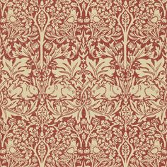 'Brer Rabbit' Morris Wallpaper Compendium II. 'Brer Rabbit' also known as 'Brother Rabbit' was inspired by a 17th century Italian silk first registered for fabric production in 1882.