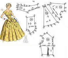 Doll Dress Patterns, Dress Making Patterns, Vintage Dress Patterns, Barbie Patterns, Costume Patterns, Vintage Sewing Patterns, Clothing Patterns, Vintage Fashion 1950s, Mode Vintage