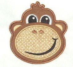Monkey Face Machine Embroidery Applique Design