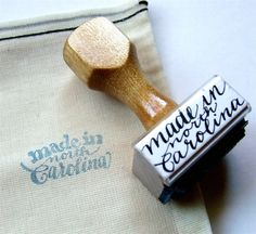 Made in North Carolina Rubber Stamp, Modern Calligraphy Stamp, Made in Your State Hand Lettering by KisforCalligraphy. $16.00, via Etsy.