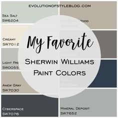 A complete list of my favorite Sherwin Williams paint colors, complete with photos and a color palette as a guide! A complete list of my favorite Sherwin Williams paint colors, complete with photos and a color palette as a guide!