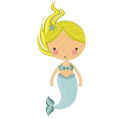 Iron On Embroidered Applique Patch Under the Sea Childrens Blonde Mermaid