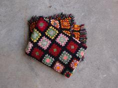 Vintage Afghan Blanket Black Multicolored by QUIVERreclaimed