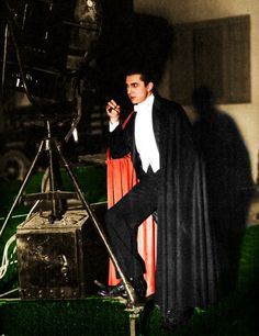 Behind the scenes Bela having a smoke. Dracula, 1931